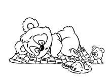 Panda little sleeping coloring page Royalty Free Stock Images