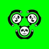 Panda logo. Black - and - white circle logo with three pandas Stock Image