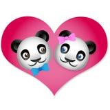 Panda Love. Cute pandas inside of a heart Royalty Free Stock Photos