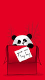 Panda love. A illustration of love in box with cute  panda Royalty Free Stock Image