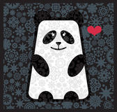 Panda in love with flowers. Royalty Free Stock Photo