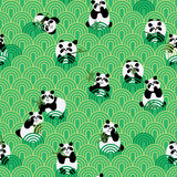Panda love green seamless pattern Royalty Free Stock Photography