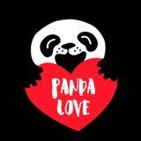 Panda Love Tecknad filmbjörn och stor röd hjärta på svart bakgrund Arkivfoto