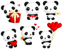 Panda in Love Vector Set Royalty Free Stock Photos