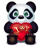 Panda loves with hearts pillow and inscription declaration of love. Illustration of white background Royalty Free Stock Images