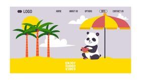 Panda lsitting on beach under sun umbrella banner web design vector illustration. Cute little bear having rest on. Vacation. Enjoy summer vibes. Palm trees vector illustration