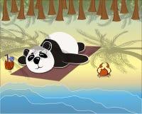 Panda lying on the beach. Under palm trees Stock Illustration
