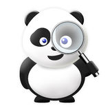 Panda with magnification glass Royalty Free Stock Photography