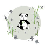 Panda in the meadow. Glade with panda bamboo and stones. Print for children. Background for kids. Vector illustration Stock Photography