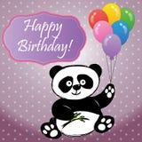 Panda med ballonger och den lyckliga födelsedagen för inskrift Royaltyfri Bild