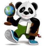Panda med jordklotet stock illustrationer