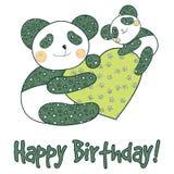 Panda med kortet för lycklig födelsedag för hjärta Royaltyfria Bilder