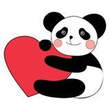 Panda med lycklig valentindag för hjärta Arkivfoto