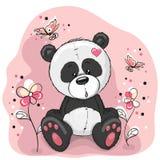 Panda met bloemen royalty-vrije illustratie