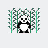 Panda mignon avec le fond en bambou Photos stock