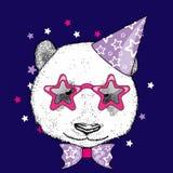 Panda mignon dans un chapeau de célébration et des verres drôles Illustration de vecteur Carte postale ou affiche, copie sur des  Photos stock