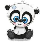 Panda mignon de bande dessinée sur un fond blanc illustration libre de droits