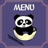 Panda mit einer Platte mit Essstäbchen, Menü oder Fahne Stockbild