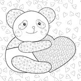 Panda mit Herzkindermalbuchseite Stockfotos
