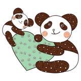 Panda mit Herzkindermalbuchseite Stockbilder