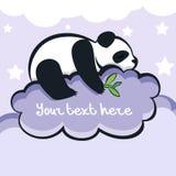 Panda niedźwiedź śpi na chmurze, wektorowa ilustracja Obraz Royalty Free