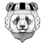 Panda niedźwiedź, bambusa niedźwiadkowy dzikie zwierzę jest ubranym rugby hełma sporta ilustrację Obrazy Royalty Free