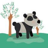 Panda niedźwiedzia zwierzęca karykatura w lasu krajobrazu tle Zdjęcia Royalty Free