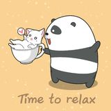 Panda och katt i tid att koppla av royaltyfri illustrationer