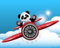 Panda op het vliegtuig royalty-vrije illustratie