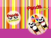 Panda op strand 04 Stock Afbeelding