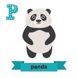 Panda P-Buchstabe Nette Kindertieralphabet im Vektor lustig Lizenzfreies Stockfoto