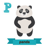 Panda. P letter. Cute children animal alphabet in vector. Funny Royalty Free Stock Photo