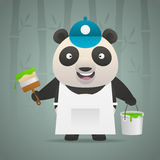 Panda painter holds brush bucket of paint Royalty Free Stock Photos