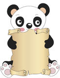 Panda with parchment Royalty Free Stock Photos