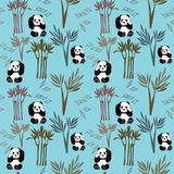 Panda Pattern Small Seamless Repeat-Vektor-Hintergrund im Blau lizenzfreie abbildung