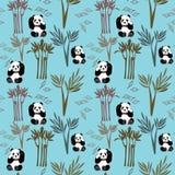 Panda Pattern Small Seamless Repeat vektorbakgrund i blått royaltyfri illustrationer