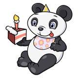 Panda pequena que come o bolo de aniversário Imagens de Stock Royalty Free