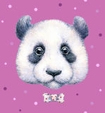 Panda on pink background. Watercolor drawing. Children's illustration. Handwork Royalty Free Stock Photography