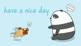 Panda is playing with a dog royalty free illustration