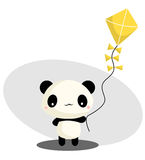 Panda Playing Kite Stock Photo