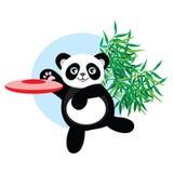 Panda plays flying disc. Royalty Free Stock Image