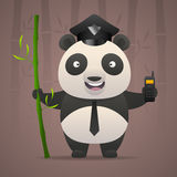 Panda policeman holds radiophone Royalty Free Stock Image
