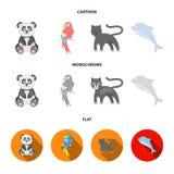 Panda popugay, panthère, dauphin Icônes réglées de collection d'animal dans la bande dessinée, actions plates et monochromes de s Illustration Libre de Droits