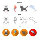 Panda popugay, panthère, dauphin Icônes réglées de collection d'animal dans la bande dessinée, contour, actions plates de symbole Illustration Stock