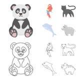 Panda popugay, panthère, dauphin Icônes réglées de collection d'animal dans la bande dessinée, illustration d'actions de symbole  Illustration Stock