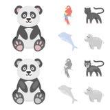 Panda popugay, panthère, dauphin Icônes réglées de collection d'animal dans la bande dessinée, illustration monochrome d'actions  Illustration Libre de Droits