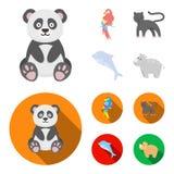 Panda popugay, panthère, dauphin Icônes réglées de collection d'animal dans la bande dessinée, Web plat d'illustration d'actions  Illustration Libre de Droits