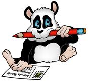 Panda and Postcard Royalty Free Stock Photography