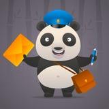 Panda postman holds letter Stock Image