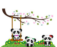 Panda que joga sob ramos de árvore ilustração stock